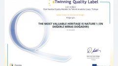 En Değerli Miras Doğadır eTwinning Projesi Ulusal Kalite Etiketi Ödülü